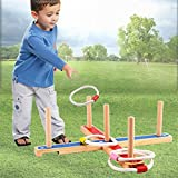 Ringwurfspiel - Spiele für draußen - werfen den Ring Holzspielzeug – Aktiver indoor und outdoor Spielspaß für Kinder und Erwachsene