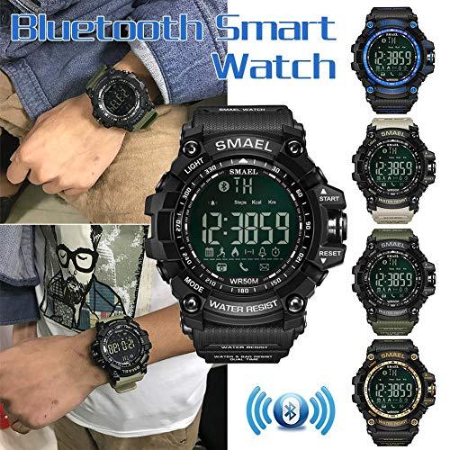 SMAEL Deporte Smartwatch, 50 Metros / 164.04ft Natación Deporte Impermeable A Prueba De Golpes Relojes Estilo Ejército Verde Bluetooth Connect Hombres Reloj Digital Masculino