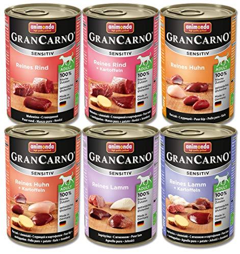 Animonda Gran Carno Hundefutter Adult Sensitiv Mix, Nassfutter für ausgewachsene Hunde von 1-6 Jahren, MIX, (6 x 400 g)