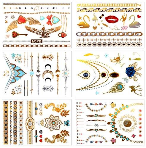 Tatuaggi temporanei metallici, prettydate 6fogli 75+ gioielli di design in oro argento zaffiro nero, finto glitter tattoos- bracciali, collane, cinturino, cavigliere e armband  jewelry collection