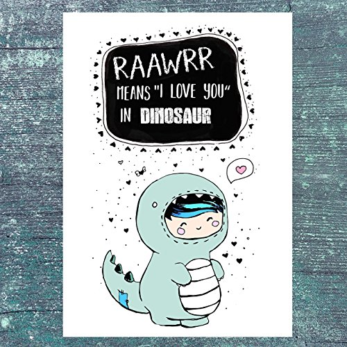 TinyTami★Dino Postkarte★Ich hab dich lieb★I love you ★Dinosaurier★Grußkarte★Liebe ★Kawaii★ 100% Handmade