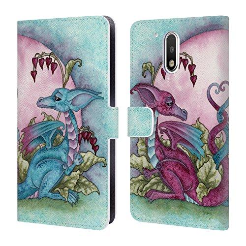 Head Case Designs Offizielle Amy Brown Liebe Drachen Folklore Brieftasche Handyhülle aus Leder für Motorola Moto G4 / G4 Plus