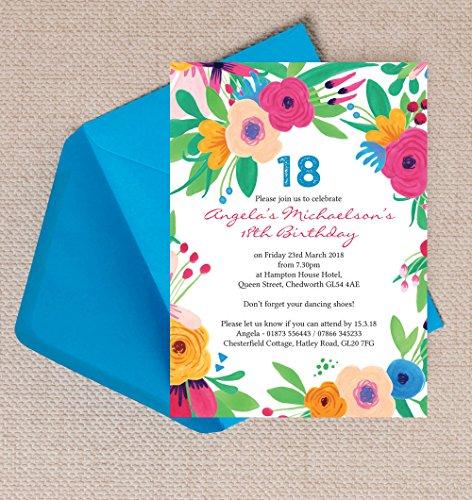 personalisierbar Bright Floral Geburtstag Einladungen mit Umschlägen (10Stück)
