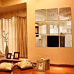 9 Pieces Square Mirror Tile Wall Stickers Set Mosaic Wall Paper Bathroom Decoration
