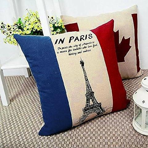 lesunhug (TM) 3x 1pc fine Lino Cuscini Federa per cuscino federa stampata Torre Eiffel tessili per la casa - Eiffel Lino