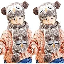 Malloom® Invierno Bebé del invierno de punto de ganchillo niños Bolas calientes del sombrero Beanie gorra+ Bufanda (café)