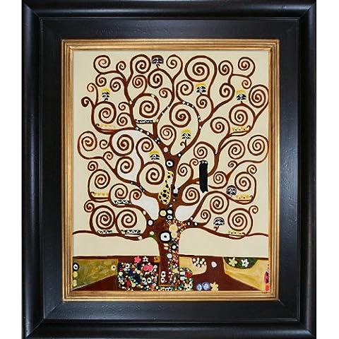 Árbol de la vida de la pintura de Klimt overstockArt con marco de CREDO, apenados negro rico en madera manchada revestimiento de oro