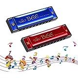 Harmonica Enfant, Harmonica Diatonique, 2 Pièces Harmonica 10 Trous Harpe Diatonique -Harmonica en do majeur pour Débutants,E