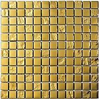 Mosaico de Vidrio en Malla DEC-47082ABC113 , Oro, 8 mm, 30 x 30 cm