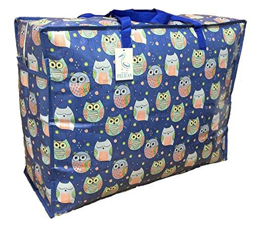 Ampia custodia Blu con motivo di gufo assonnato. Sacca portaoggetti durevole e borsa per il bucato e la biancheria. (60 * 545 * 25CM, 65L)