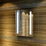 Badspiegel 45x60cm Spiegel (eckig) mit energiesparender LED-Beleuchtung kaltweiß IP44...