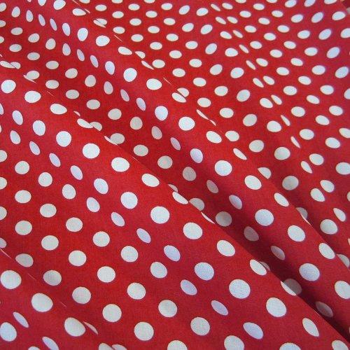 Stoff Baumwollstoff Baumwolle Popeline Punkte gepunktet Tupfen rot weiß M (Dot Stoff Vorhang)