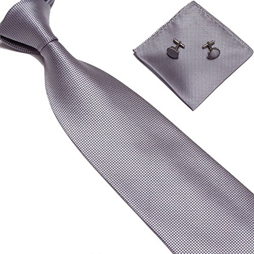 Fogun Gewebte Seide Krawatte Handmade Herren Krawatte Manschettenknöpfe und Taschentuch Set Hanky Geschenk (Hell Grau)