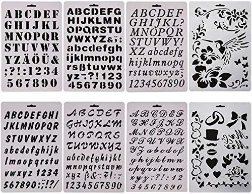 sunswei 8PCS Bullet Tagebuch-Sets, Schablone Alphabet Buchstabe Zeichnen Malen Schablonen Template für Planer/Notizbuch/Tagebuch/Scrapbooking/Journaling/Graffiti/Karte Zeichnen Malen Craft Projekte (Karte Malen)