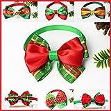 Cravatta per Cani, Panphy collari regolabili handmade del legame dell'arco per il cane e il gatto per bowtie festivo di natale (pacchetto di 6)