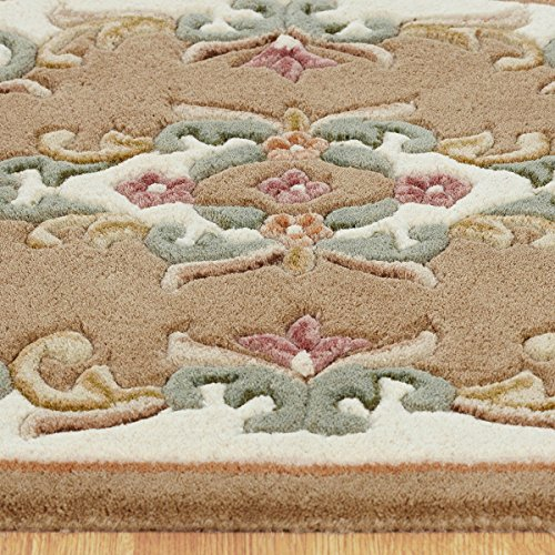 Royal Wool Traditional Rug Beige Cream 120 x 120cm (4ft x 4ft approx) Circle
