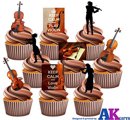Keep Calm and Play Violine, Keep Calm und Love Violine, Silhouette Player und Violinen Party Pack Mix–essbar Stand-up Cupcake Topper (36Stück)