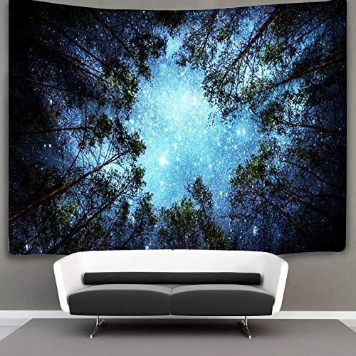 Lomohoo foresta arazzo tapestry foresta arazzo da parete notte stellata con natura galassia cielo blu grande(l/153cm*229cm)