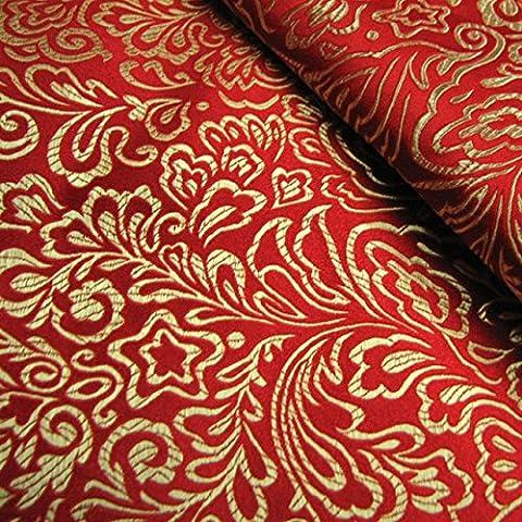 Nuevo Montreal, rojo tela jacquard clásica / telas de seda brocado / cos traje de vestido de la muñeca del kimono del traje de Hanfu C / 100cm * 75cm