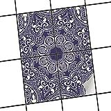 creatisto Badezimmerfliesen | Muster-Fliesenfolie Fliesen aufkleben Dekofolie Küchengestaltung | 20x25 cm Design Motiv Blue Mandala - 4 Stück