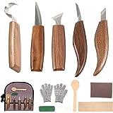 12 PCS Outils de Sculpture sur Bois avec Couteau à Crochet Couteau à Bois Couteau à Sculpter Couteau à Biseau Couteau à Cuill