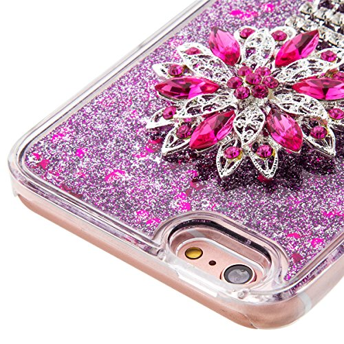 iPhone 6S Plus Hülle, iPhone 6 Plus Hülle, Gift_Source [ Gold & Engel Krone ] Schutzhülle harte plastik Schutz Handy Hülle Case, Creative 3D strom flüssiger durchdrungen von glitzer und sterne Hülle C E1-Lila & Lotus