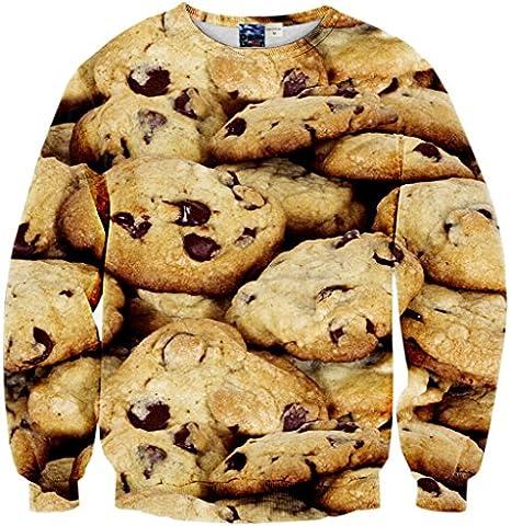 Pizoff Unisex Hip Hop sweatshirts with 3D Digital printing 3D pattern biscuit cookies Y1759-68-M