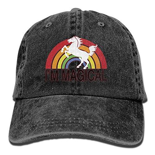 UUOnly Männer oder Frauen Bin ich magischer Regenbogen-Unicorn-Garn-gefärbter Denim-Baseball-Hut justierbare Hip Hop-Kappen -