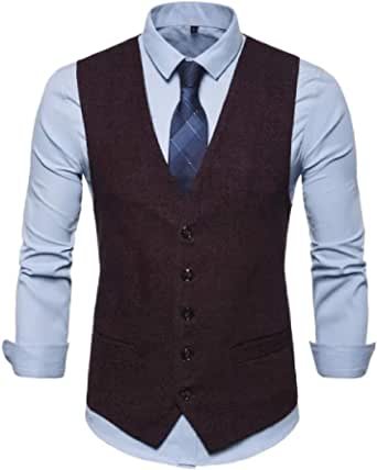 GRMO Men Business Polka Dot Print Single Breasted Dress Suit Vest Waistcoat