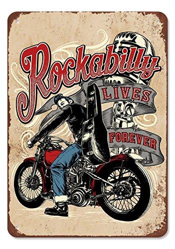 GASOLINE BANDIT Original Deko-Blechschild: Rockabilly Lives Forever