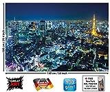 GREAT ART Póster Tokio Ciudad Mural Decoración Contorno de Tokio de Noche Metrópolis Torre de Tokio Panorama Foto Japón Deco Mega Ciudad Viajar | Foto