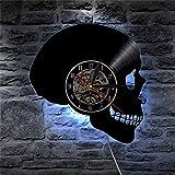 QUTICL Handgeschnitztem Sugar Skull Schallplatte Wanduhr Hippie Totenkopf Wanduhr Tag der Toten Home Decor Halloween Geschenk mit LED