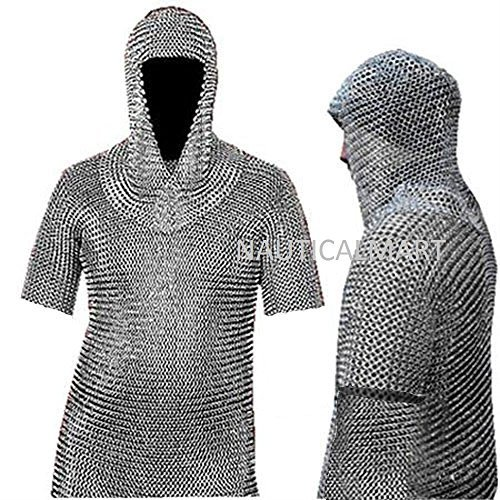 Collectibles Militaria Chainmail Coif Aluminum V-neck Medieval Chain Mail Hood Role Play Party Costume Complete In Specifications