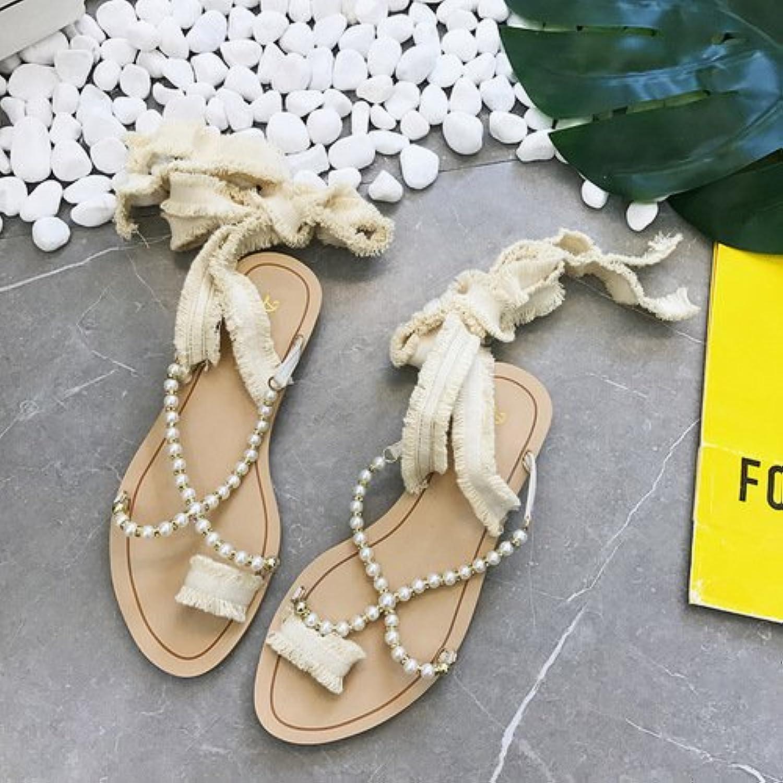 yalanshop Collar de Perlas, Sandalias de Fondo Plano, Flecos, Moda Simple, Zapatillas de Mujer, Arroz Blanco,...