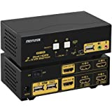 HDMI KVM Switch 2 Port Dual Monitor Extended Display 4K @30Hz, DEPZOL Dual View PC Monitor Keyboard Mouse Selector Box with Audio Microphone Output and USB 2.0 Hub for Computers and Laptop