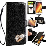 Samsung Galaxy A5 2017 3D Love Hearts Bling Glitter Glitzer Diamond Musterg Ledertasche Slim Retro Bookstyle mit Standfunktion Karteneinschub und Magnetverschluss Flip Wallet Hülle Schutzhülle