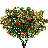 NAHUAA 4 Pz Fiori Artificiali da Esterno Piante di Plastica Foglie di Fragola Orchidea Arancione Mazzi Fiori Finti Decorazione per Giardino Balconi Interno Casa Cucina Ufficio Cimitero