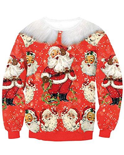 JOLIME Herren Unsiex Weihnachten Pullover Elfe Santa 3D Druck Ugly Christmas Spaß Sweatshirt D XL