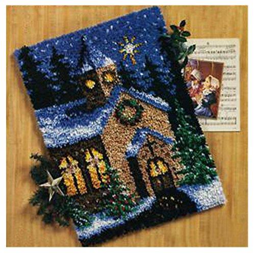 7 Modell Weihnachten Knüpfteppich für Kinder und Erwachsene zum Selber Knüpfen Teppich Latch Hook Kit child Rug Christmas101 52 by 38 cm