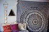 Zauberhafte Szenerie schwarz und grau Ombre Bohemian Mandala tapestryhome Decor, Hippie Wandbehang, Tagesdecke von craftozone, Single 220x140 cms