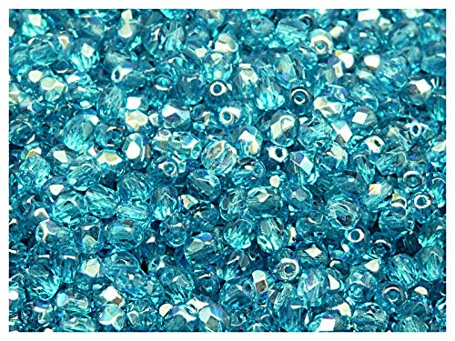 100 Stück Tschechische Facettierten Glasperlen Fire-Polished Rund 4 mm, Aquamarine AB -