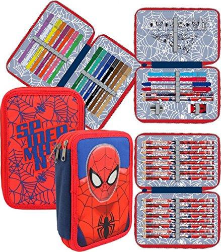 Spiderman – Plumier de 3 pisos relleno, 20 x 12 cm (Cerdá 2701-253)