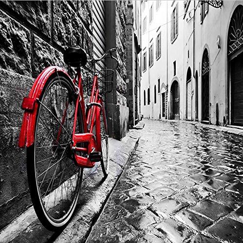 Zybnb 3D Wallpaper Retro Street View Bike Schwarzweiß Foto Hintergrund Wand Dekor Wandbild Tapeten Für Wohnzimmer Schlafzimmer -