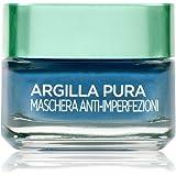 L'Oréal Paris Detergenza Maschera per il Viso Argilla Pura Anti-Imperfezioni con Alghe Marine, Agisce sui Punti Neri e Ristri
