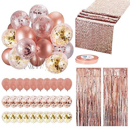 Womdee Set de Decoración de Fiesta de Oro Rosa