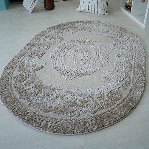 mynes Teppiche Wohnzimmer Beige & Grau Kurzflor mit Medaillon Muster Designer Teppich hochwertig Vintage-Style in versch. Größen [Art 4204] (Oval - 120 x 170 cm, Beige) -