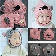 Berretto passamontagna in maglia maglia per bambini da 18mesi a 5anni. Impiego di sotto di collo pulsante Collection Piccola baffi