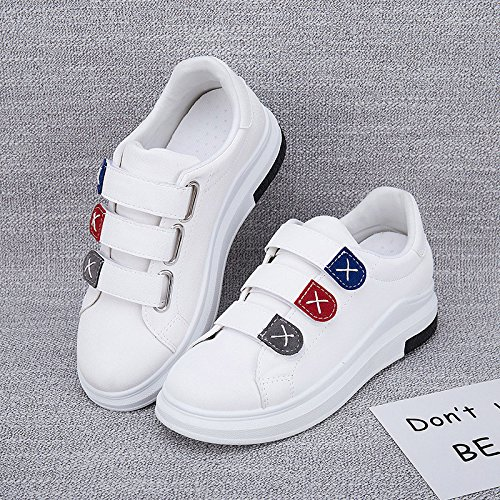 Wuyulunbi@ Primavera e Autunno White scarpe Scarpe Donna Scarpe Velcro Bianco