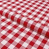 Stoff Meterware, Karo 15x15 mm, Rot und Weiß, Baumwolle,