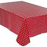 Tischdecke Wachstuch gepunktet rot 140x 240cm